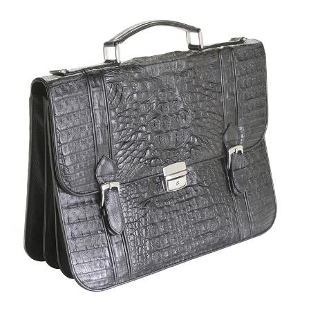SKU#BWC710 Full Genuine caiman ~ alligator Sport Briefcase in Black, Cognac, Oryx, Brown $774
