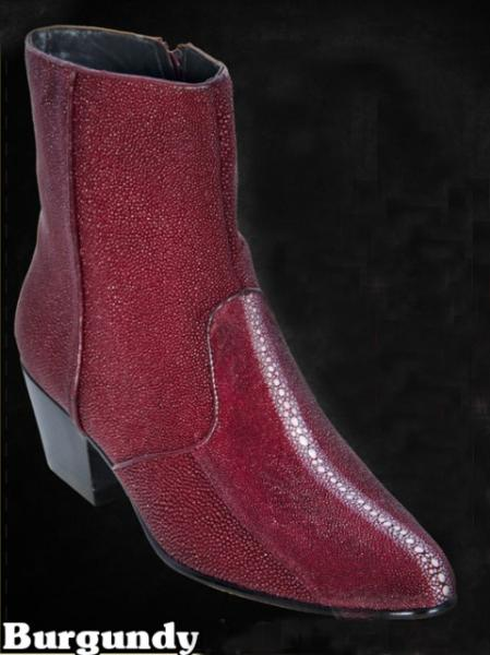 SKU#BBU1894 Mens Stingray Dressy Boots W/Zipper in Black & Burgundy ~ Maroon ~ Wine Color $440