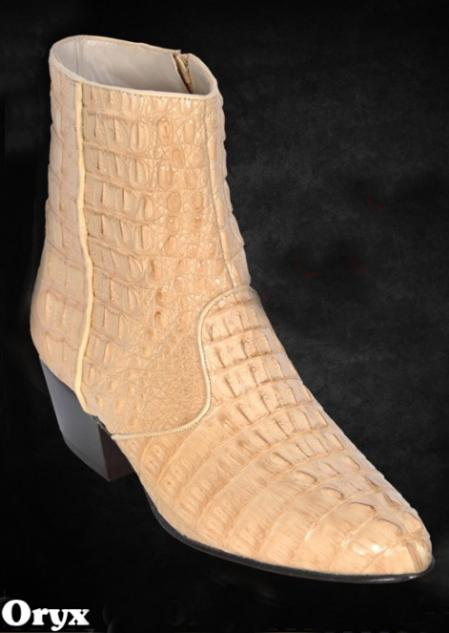 SKU#CGU9181 Full caiman ~ alligator Dressy Boots W/Zipper in Black, Oryx, Buttercup, Cream ~ Ivory ~ Off White, Cognac, White $440