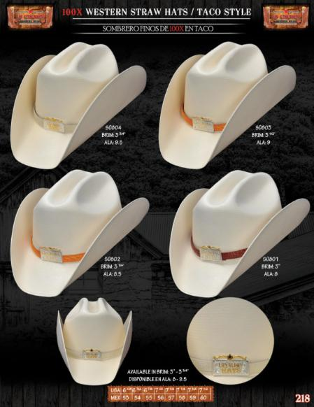 "Western Hats, 100x Taco Style Western Cowboy Straw Hats. Please specify the color of the hat band strap at checkout. We have multiple colors available in print caiman or print ostrich leather (300X and 100X hats come in leather prints only). Please see the picture for your selection. We won't process the order unless we know what skin (caiman/ostrich) and color you want for the band strap on your hat. The hat band straps are 3/4"" width.A natural straw hat 100X.Featuring a handsome hat band (pick the color you like) finished off with silver/gold metal details front., 100x Taco Style Western Cowboy Straw Hats 55"