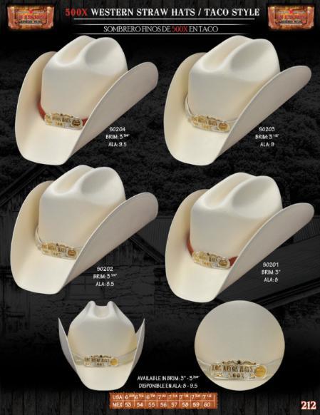 SKU#TAC9202 500x Taco Style Western Cowboy Straw Hats $90