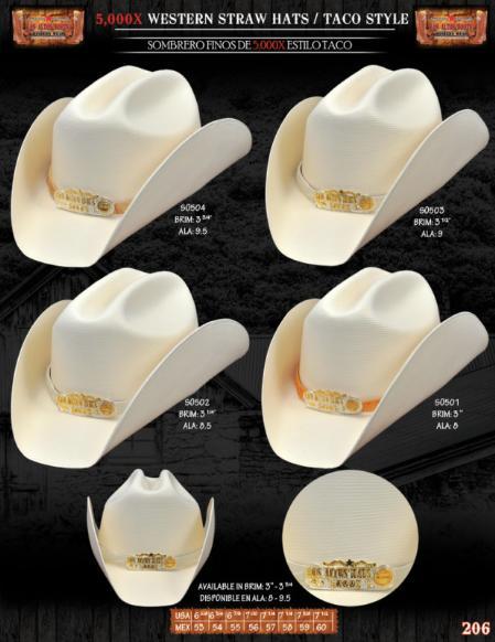 SKU#FSH1354 5,000x Taco Style Western Cowboy Straw Hat