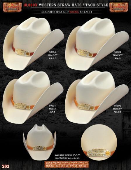 SKU#IKL2712 10,000x Taco Style Western Cowboy Straw Hat $185