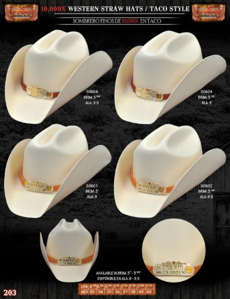 SKU#IKL2712 10,000x Taco Style Western Cowboy Straw Hat
