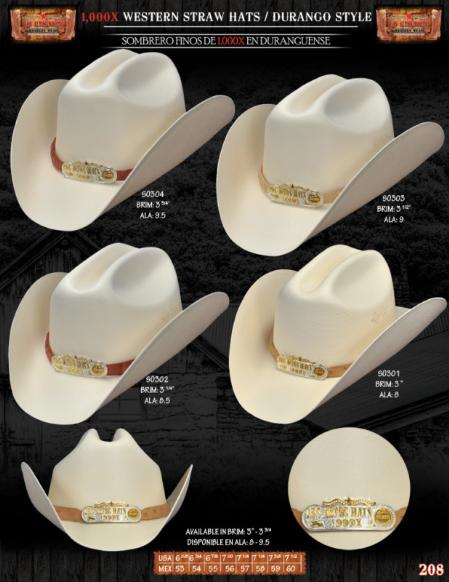 "Western Hats, 1,000x Durango Western Cowboy Straw Hats. Please specify the color of the hat band strap at checkout. We have multiple colors available in genuine caiman or genuine ostrich. Please see the picture for your selection. We won't process the order unless we know what skin (caiman/ostrich) and color you want for the band strap on your hat. The hat band straps are 3/4"" width.A natural straw hat 1,000X.Featuring a handsome hat band (pick the color you like) finished off with silver/gold metal details front. , 1,000x Durango Western Cowboy Straw Hats 120"