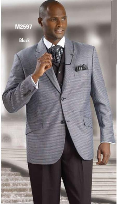 SKU#BHJ891 2 Button Style Unique Design & Pattern Fashion Suit Black $175