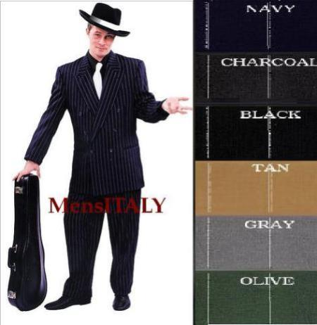 SKU#B662SO Chalk Double Breasted 6 on 2 Men's Any Color & Bold White Pinstripe Suit