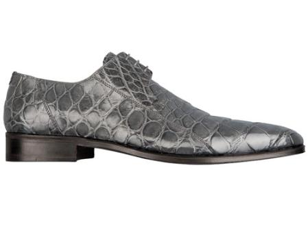 SKU#KB5666  FENNIX ITALY Alligator Lace-Up Shoe Grey $630