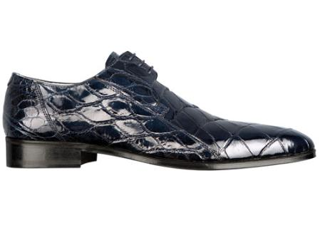 SKU#PL7644  FENNIX ITALY Alligator Lace-Up Shoe Navy $630