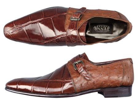 SKU#FK5427 FENNIX ITALY Alligator & Ostrich Slip-On Monkstrap Shoe Gold $700