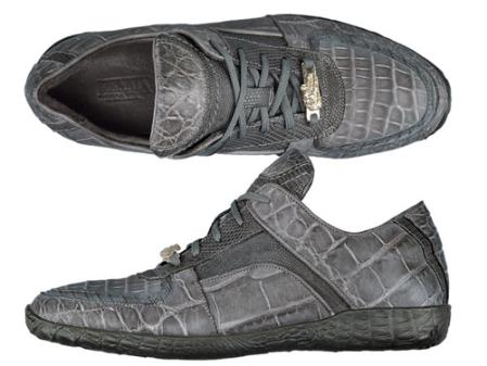 SKU#DE5658  FENNIX ITALY Alligator & Washed Tejus Lace-Up Sport Shoe Grey $690