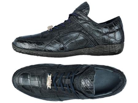 SKU#TF6399  FENNIX ITALY Alligator & Washed Tejus Lace-Up Sport Shoe Navy $690
