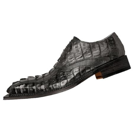 SKU#NR7463  FENNIX ITALY Black Genuine Crested Crocodile Tail $895