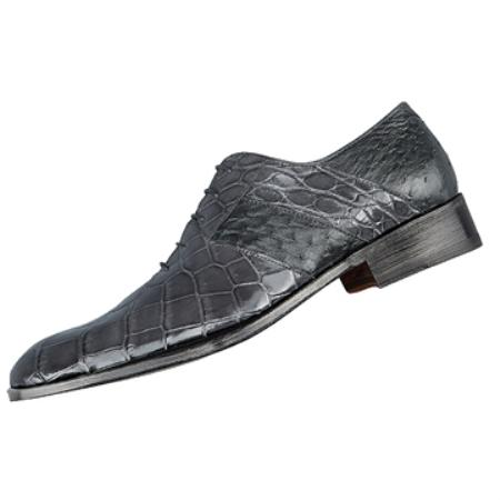 SKU#JF6390  FENNIX ITALY Medium Grey Genuine Alligator & Ostrich $825