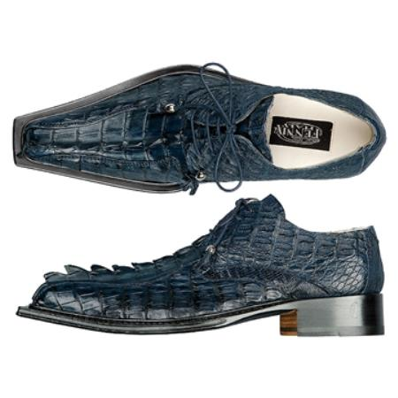 SKU#VY1976 FENNIX ITALY Navy Genuine Crested Crocodile Tail $875