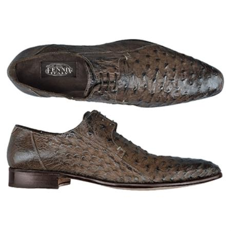 SKU#RN6474 FENNIX ITALY Washed Dark Brown Genuine Ostrich $590