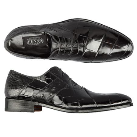 SKU#HT9688 FENNIX ITALY Black Genuine Alligator & Ostrich $825