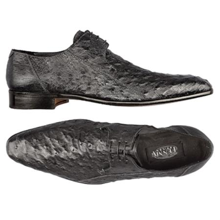 SKU#JR7868 FENNIX ITALY Washed Black Genuine Ostrich $590