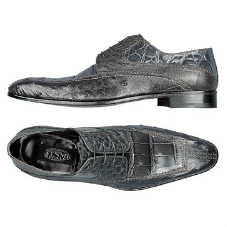 SKU#BS8975 FENNIX ITALY Grey Genuine Ostrich & Alligator $650