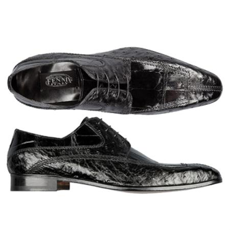 SKU#UH7867 FENNIX ITALY Black Genuine Ostrich & Alligator $650