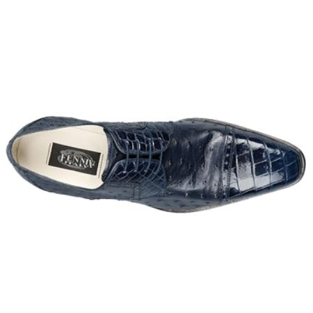 SKU#BK5689 FENNIX ITALY Navy Genuine Alligator & Ostrich $595