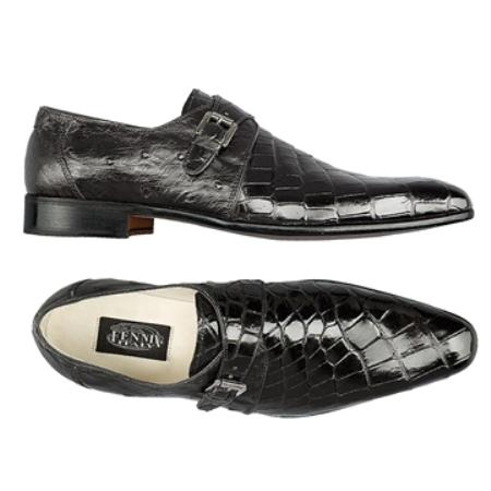 SKU#KF6982 FENNIX ITALY Black Genuine Alligator & Ostrich $745