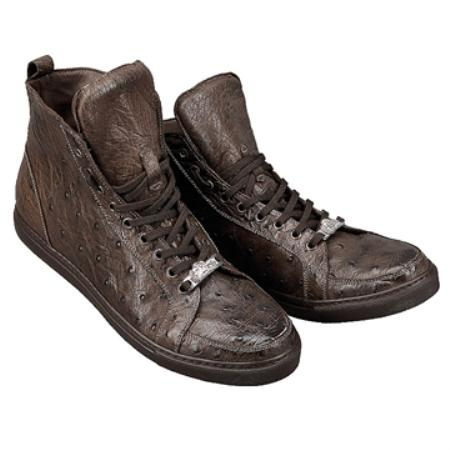 SKU#NY8135 FENNIX ITALY Washed Brown Genuine Ostrich $599