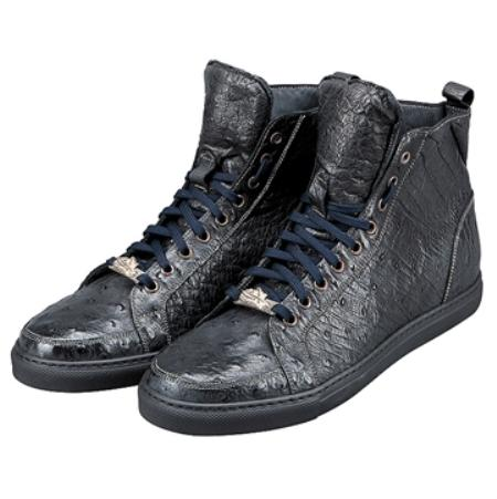 SKU#UF5022 FENNIX ITALY Washed Navy Genuine Ostrich $599