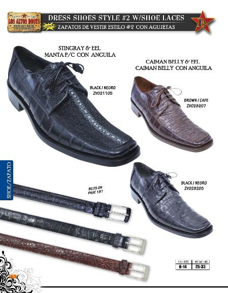 MensUSA.com Genuine Stingray Caiman Belly Eel Mens Dressy Shoe Diff Colors Sizes Black Brown(Exchange only policy) at Sears.com