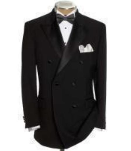 SKU#GBB79 Double Breasted Tuxedo Shirt & Bow Tie Package 6 on 2 Button Closer Style Jacket$149