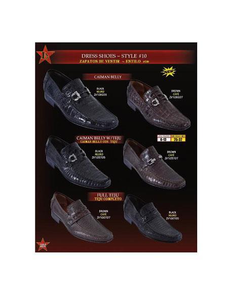 SKU#BMA8102 Mens Genuine caiman ~ alligator Belly/Teju Lizard Slip On ~ Loafer Dress Shoes Black & Brown $269
