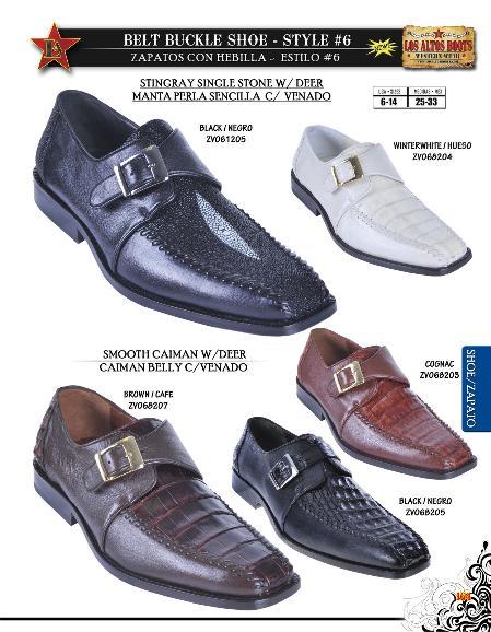SKU#GXZ6653 Stingray/caiman ~ alligator w/ Deer Buckle Mens Dressy Shoe Black, Brown, Cognac, Cream ~ Ivory ~ Off White