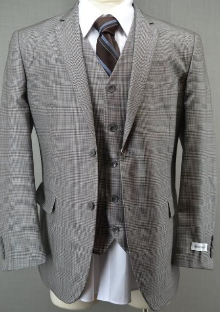 SKU#FT6398 Slim Fit Brown Glen Plaid 3 Piece Vested Suit $225