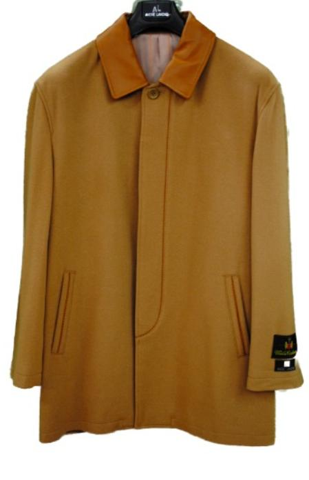SKU#BCB2332 Mens Car Coat W/ Lambskin Collar Camel, Black, Brown $199