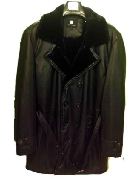 MensUSA.com Mens Faux Leather 3 4 Jacket Black(Exchange only policy) at Sears.com