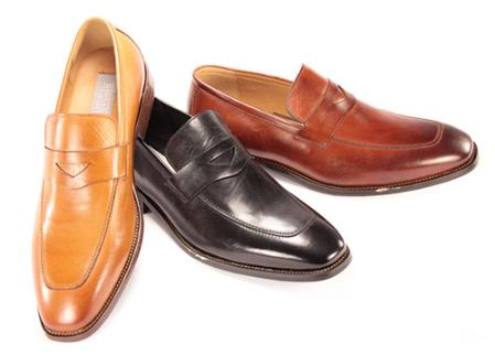SKU#CDE2652 Mens Slip-on Dress Shoes in Black, Cognac, Camel $125