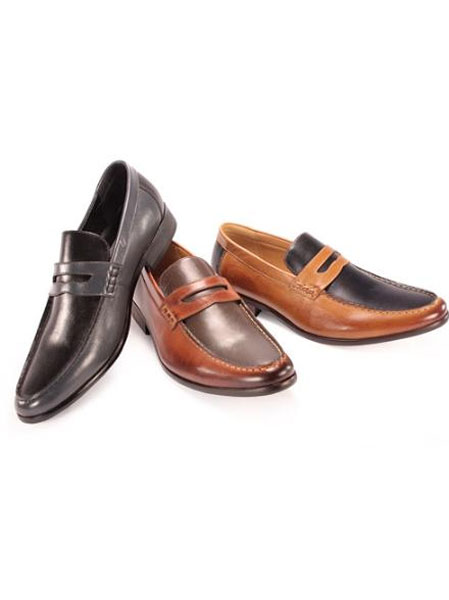 SKU#CDE2652 Mens Slip-on Dress Shoes in Black/Gray, Chocolate Brown/Cogn, Navy/Taupe $125
