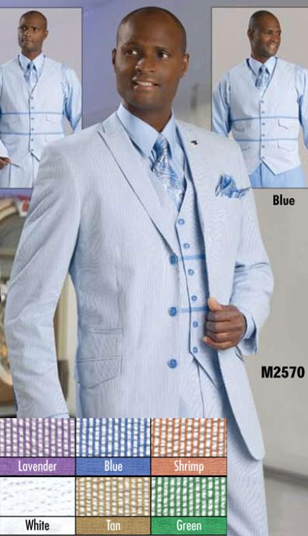 SKU#BLU8911 Mens 3 Button Seersucker Suit Blue $175