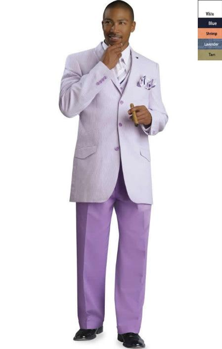 SKU#BLU8911 Mens 3 Button Seersucker Suit Lavender $175