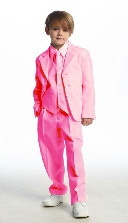 SKU#PNK7011 Single Breasted Boys Suit Hot Pink ~ fuchsia $139
