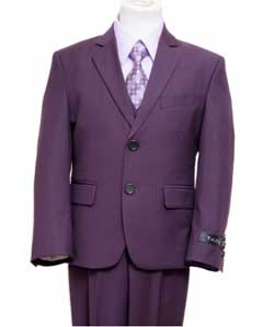 SKU#PRK1801 Single Breasted Boys Suit Purple $139