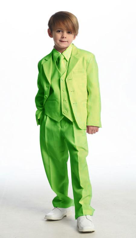 SKU#LMG9011 Single Breasted Boys Suit Lime Green $139