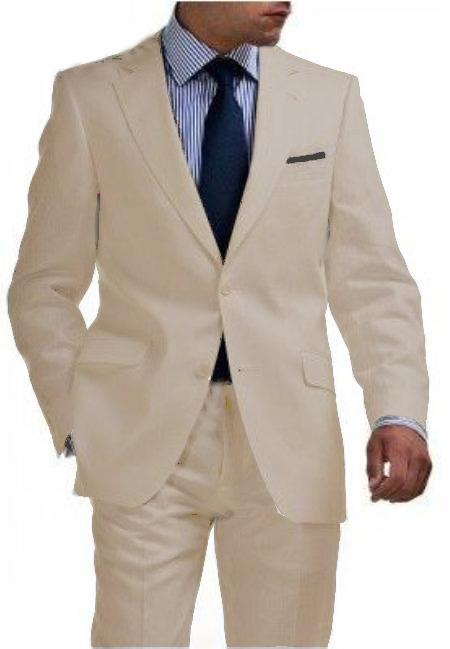 SKU#BGE9121 Light Weight 2 Button Tapered Cut Half Lined Flat Front Linen Suit Vented Beige $275