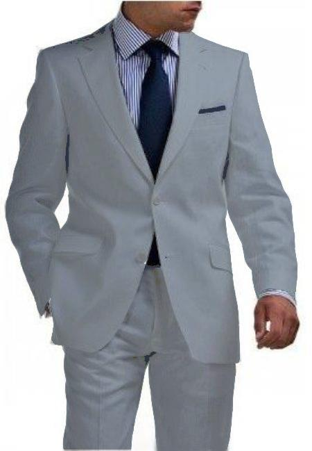 SKU#LGR1321 Light Weight 2 Btn Tapered Cut Half Lined Flat Front Linen Suit Vented Light Gray $275