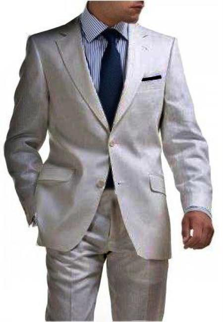 SKU#SLV9144 Light Weight 2 Button Tapered Cut Half Lined Flat Front Linen Suit Vented Silver $275