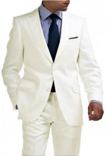 SKU#OFW8302 Light Weight 2 Button Tapered Cut Half Lined Flat Front Linen Suit Vented OFF White $275