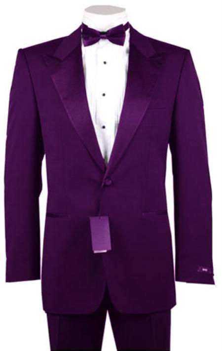"SKU#PUR1932 1 or 2 Button Peak Lapel  Tuxedo Purple Pre Order Collection ""30 Days Delivery"" $795"