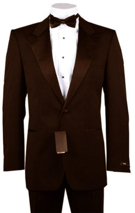 1940s Men's Suit History and Styling Tips 1 or 2 Button Peak Lapel Tuxedo Brown Pre Order Collection 30 Days Delivery $485.00 AT vintagedancer.com