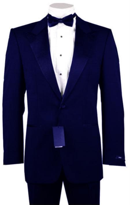 "SKU#NVB8123 1or 2 Button Peak Lapel Tuxedo Navy ~ Midnight blue Pre Order Collection ""30 Days Delivery"" $485"