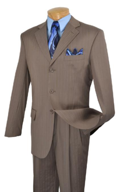 SKU#KH6735 100% Super Wool Single breasted 3 btn pleated pants fancy stripe & pattern Brown $275